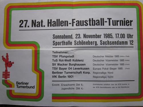 27. Nationales Hallen-Faustball-Turnier 1985